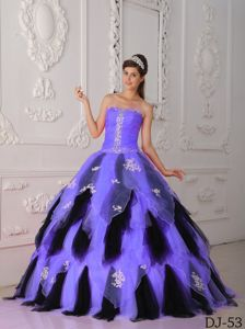 Best Appliqued Light Purple and Black Dresses for Quinceaneras