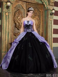 Ball Gown Corset Appliqued Two-toned Quinceanera Party Dress