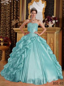 Most Popular Pick-ups Embroidery Aqua Blue Sweet 15 Dress