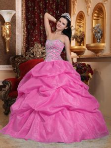 Customized Beaded Rose Pink Dress for Sweet 15 with Pick-ups