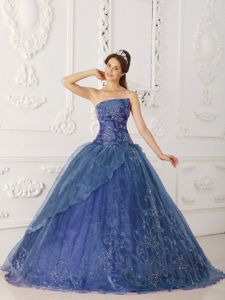 Pretty Organza Embroidery Beaded Blue Quinceanera Dresses
