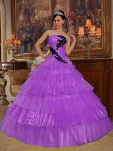 Puffy Light Purple Appliqued Pleated Layers Sweet 15/16 Dresses