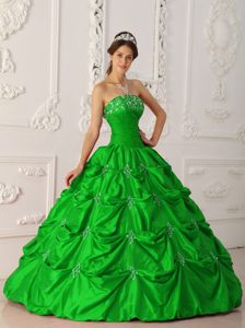 New Arrival Pick-ups Appliqued Strapless Green Dress for Quince