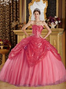 Beautiful Corset Back Sequins Coral Red Dresses for Sweet 16