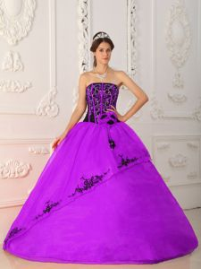 Most Popular Appliqued Black and Purple Quinceanera Dresses