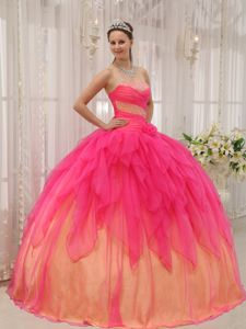 Low Price Beaded Ruffled Two-toned Sweet 16 Dress Designer