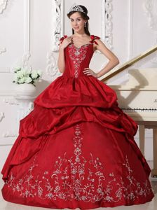 Impressive Straps Wine Red Dress of 15 with Embroidery Online