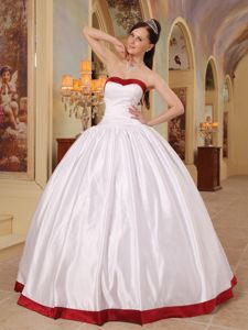 Plus Size Simple Ball Gown White Sweet 15 Dresses with Red Hem