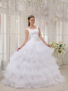 Dreamy Scoop Ball Gown Appliqued White Dresses for Sweet 16