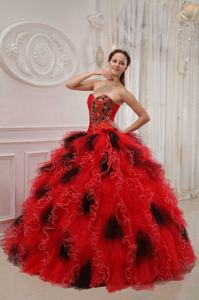 Brand New Stylish Beaded Ruffled Black and Red Quinces expo in San Fernando Valley