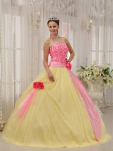 High-Class Pink and Yellow Strapless Sweet 16 Dress with Flowers