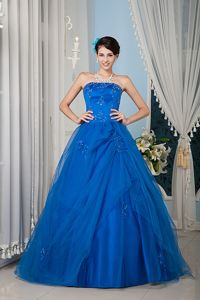 Best Royal Blue Princess Beading Appliques Tulle Sweet 15 Dresses