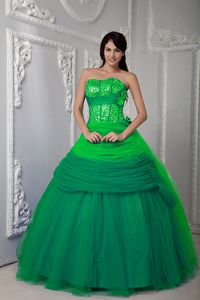 Green Ruffled Sweetheart Hand Made Flowers Quinceanera Gown