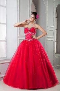 New Red Sweetheart Beading Pleated Floor Length Dress for Sweet 15