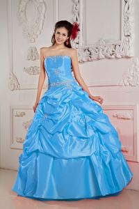 Baby Blue Strapless Beading Taffeta Pick-ups Accent Quince Dresses