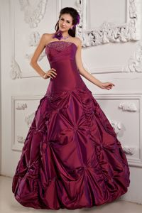 Wine Red Ball Gown Strapless Beading Embroidery Dresses for 15