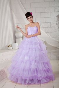 Best Lilac Ball Gown Sweetheart Multi-tiered Quinceanera Gown