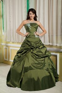 Olive Green A-line Strapless Quinceanera Dresses with Pick-ups