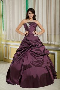 Burgundy Princess Strapless Pick-ups Accent Dress for Sweet 15