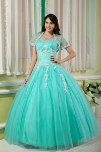 Turquoise Sweetheart Appliques Capelet Dress for Sweet 15