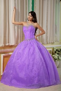 Lilac Strapless Beading Puffy Organza Quinceanera Dresses
