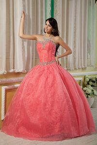 New Watermelon Ball Gown Sweetheart Beading Quince Dresses