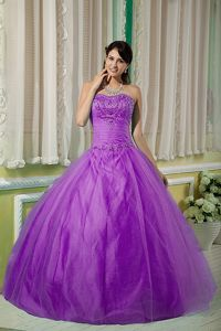 Light Purple Sweetheart Beading Ruched Dress for Sweet 15