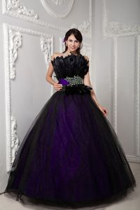 Black and Purple Feather Accent Strapless Quinceanera Dresses
