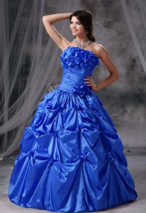 Royal Blue Hand Made Flowers and Pick-ups Sweet 15 Dresses