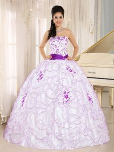 24 hours White Strapless Ruffled Dress for Sweet 15 with Purple Ribbon for 2014