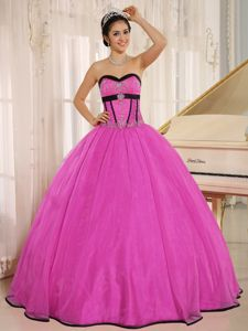 Rose Pink Sweetheart Beading Organza Puffy Dress for Sweet 15