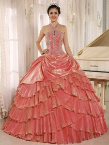 Halter Top Pleated Layers Beading Decorate Quinceanera Dresses