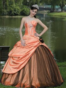 New Arrival Orange Taffeta Strapless Pick-ups Dress for Sweet 15