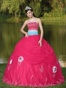 Coral Red Strapless Appliques Ruffles Hand Made Flower Quince Dresses