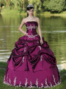 Fuchsia Embroidery Strapless Quinceanera Gown with Pick-ups