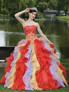 New Colorful Strapless Appliques and Ruffles Sweet 15 Dresses