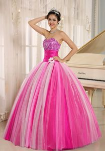 Multi-Color Strapless Beading Ruches Puffy Quinceanera Dresses