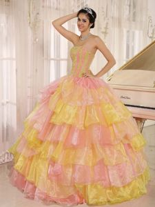 Popular Colorful Ruffled Layers and Appliques Quinceanera Gown