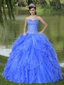 New Blue Sweetheart Beaded Ruffles Decorate Sweet 15 Dresses