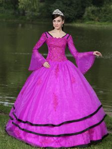 Popular Fuchsia Long Sleeves Appliques Dress for Sweet 15