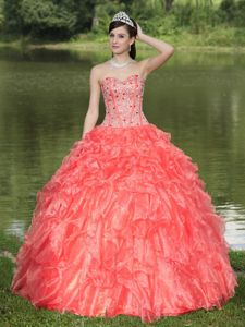 Watermelon Red Sweetheart Ruffles Accent Beaded Sweet 15 Dresses