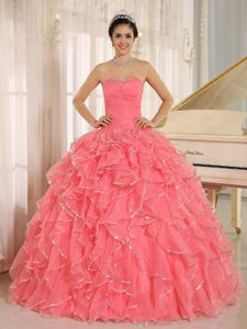 Popular Ruffles Decorate Beading Ruched Bodice Dress for Quince