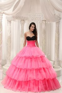 Pink and Black Sweetheart Tiered Beaded Dress for Quince
