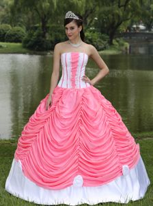 Most Popular Watermelon and White Strapless Ruffles Quince Dress