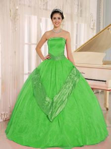 Perfect Puffy Spring Green Strapless Beading Quinceanera Dresses