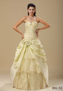 Light Yellow Sweetheart Hand Made Flowers Tiered Quince Gown