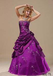 Fuchsia Strapless Princess Pick-ups Embroidery Sweet 15 Dresses