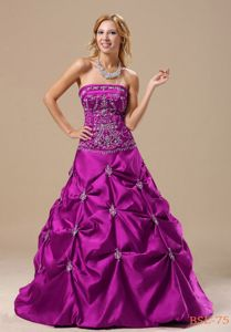 Best Strapless A-line Fuchsia Pick-ups and Appliques Quince Dresses