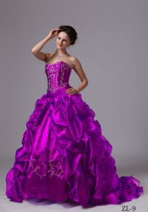 New Fuchsia Sweetheart Embroidery Pick-ups Quinceanera Dresses