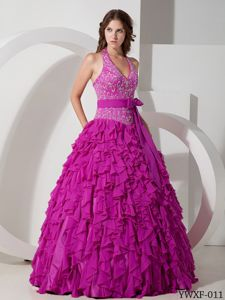 v-Neck Embroidery Bust Ruffled Dress for Quince with Bow Sash